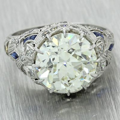 1920s Antique Art Deco Platinum 5.86ctw Diamond Sapphire Engagement WOW Ring J8