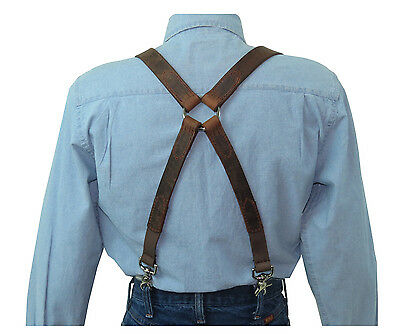 Distressed Dark Brown Leather Suspenders Silver X Ring Back scissor snaps
