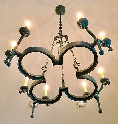 LARGE Gothic-Old World-Medieval 8 LIGHT WROUGHT IRON HAND FORGED CHANDELIER **