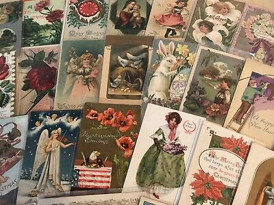 Vintage Mixed Lot of 96 Holidays & Greetings Postcards-Antique-~in Sleeves-p150