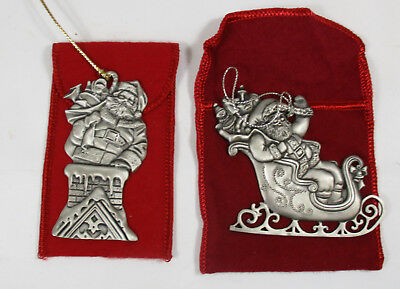 Avon St. Nick, 1995 and Santa Arrival, 1994 Pewter Christmas Ornament