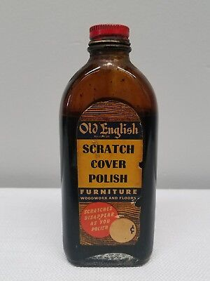 Vintage Old English Furniture Scratch Cover Polish Glass Bottle Furniture,  Wood