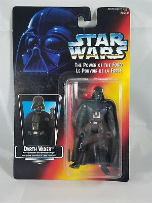Star Wars POTF Bilingual card Darth Vader w/ Lightsaber & removable cape  NIB