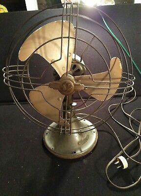 """Antique General Electric Table Fan Medal 3-Blade Vintage 12""""W Cage 2 Speed Old"""