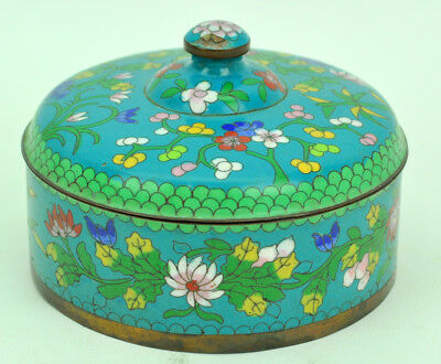 "Antique Chinese Cloisonne Trinket Box Jewelry Box 5"" NR"