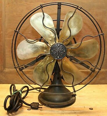 "Antique 13"" GREEN GE General Electric AOU  Six BRASS Blade OSCILLATING Fan WORKS"