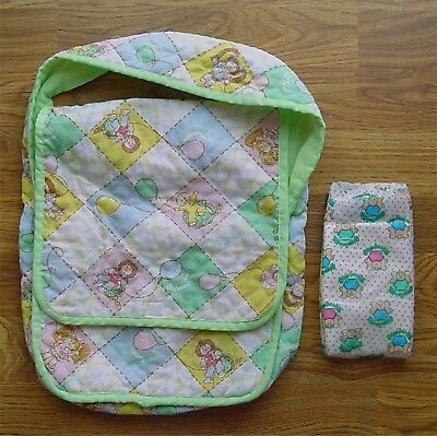 Vintage Cabbage Patch Kids Doll Quilted Cloth Diaper Bag+1 CPK BABY DIAPER(NEW)