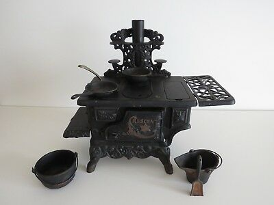 Large Vintage Crescent Cast Iron Toy Stove - Many extras - No missing pieces