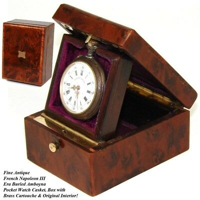 Antique French Napoleon III Pocket Watch Display Casket, Elegant Burled Amboyna