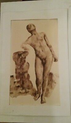 Gay interest  French surealistic wash drawing Dessin Lavis encre Nu