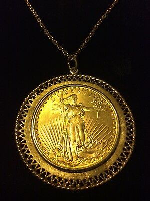 1927 Saint Gaudens Gold Double Eagle in 14k Bezel with 14 k chain