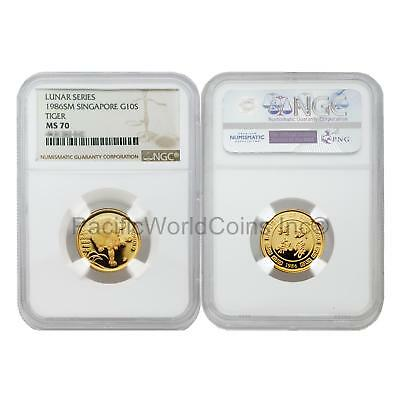 Singapore 1986 Year of the Tiger 10 Singold 1/10 oz Gold NGC MS70 SKU#5681