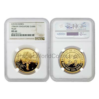 Singapore 1986 Year of the Tiger 100 Singold 1 oz Gold NGC MS66 SKU#5676
