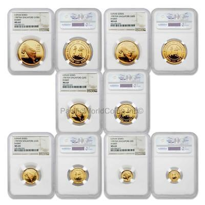 Singapore 1987 Year of the Rabbit 5pc Gold NGC MS69 Set SKU#5672