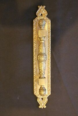"Large Vintage Solid Brass Ornate Hotel Door Handle 9"" LONG"