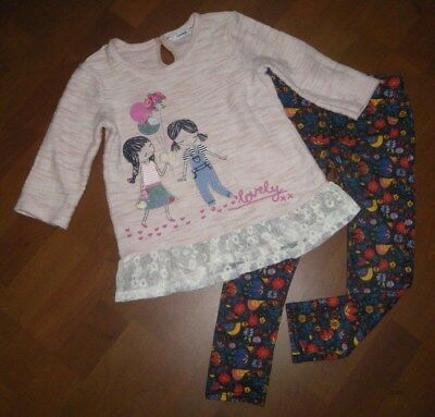 "GEORGE tolle Sweater-Tunika,Applis & M&S Jeggings Gr.104-110,""next sweet set"""