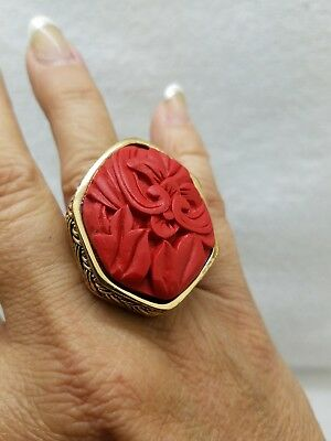 Vintage ART DECO sz 8 Chinese carved red Cinnabar FLORAL brass filigree RING
