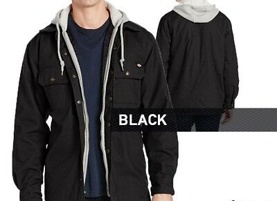 Men Hooded Canvas Shirt Jacket Dickies Black