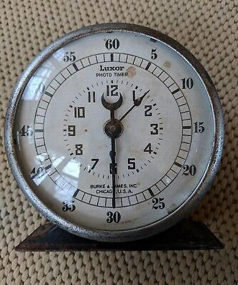 Vtg Antique Darkroom Timer Model Luxor Burke & James USA Photo Lab Clock Decor