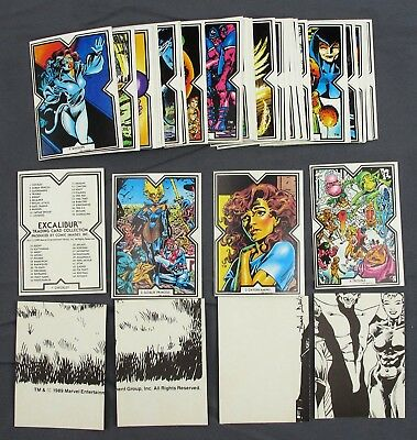 1989 Comic Images Marvel EXCALIBUR Trading Card Collection Complete Set #1-45