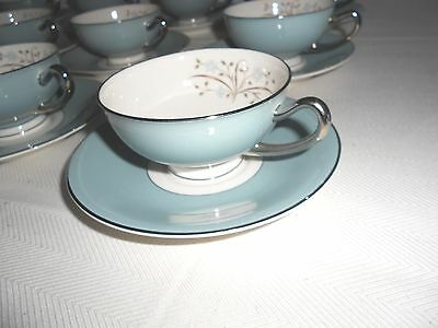 Syracuse China ~ MEADOW BREEZE ~ Footed Cups & Saucers (12 Sets) Excellent ~ USA