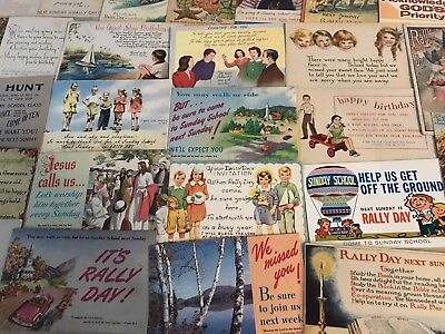Nice LOT of 35 OLD RALLY DAY postcards  SUNDAY SCHOOL CHURCH ANNOUNCEMENTS-p157