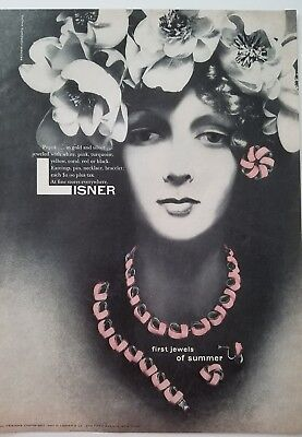 1957 Lisner pink necklace earrings vintage jewelry ad
