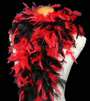 Red/Black mix 100 Gram Chandelle Feather Boa Dance Party Halloween Costume