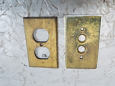 Vintage Solid Brass Push Button Switch Plate Cover and metal plug in cover