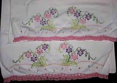 VINTAGE PAIR of Hand-Embroidered Pillowcases, Pink Purple Vines Flowers, AS IS