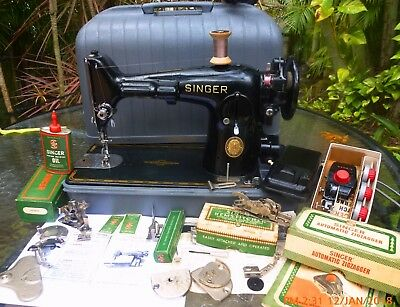 Superb Singer 201-2 direct drive VTG sewing machine,case,oil can,attachmnts,1951