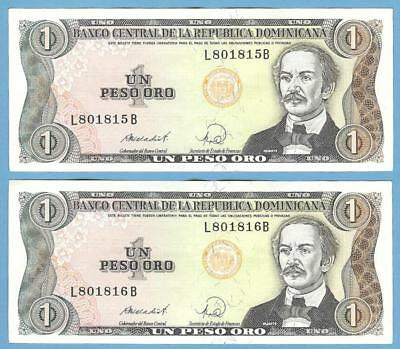 Banknotes Money Currency Dominican Republic, 1 Peso 1984--2 Sequential Bills