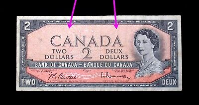 1954 $1 Canada  Banknotes Error The ink of the Serial number faded away