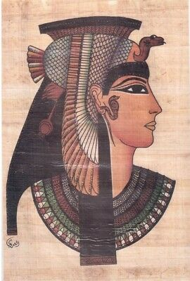 EGYPT ÄGYPTEN PAPYRUS HAND PAINTED FOR QUEEN Cleopatra  FACE (20×30) cm