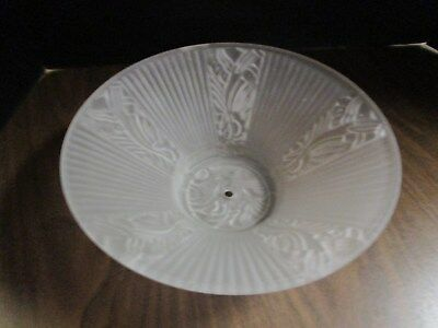 Vintage White Frosted Light Shade Flared Art Deco Design