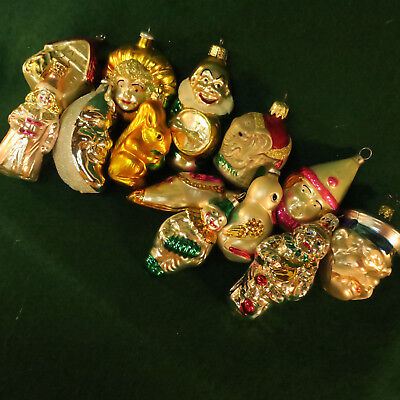 Lot of 13 Vintage Mix Figural Glass Christmas Ornaments
