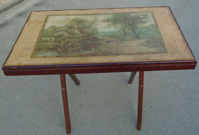 Vintage Wooden TV Tray Folding Table Stand Country Lane English Cottage Art