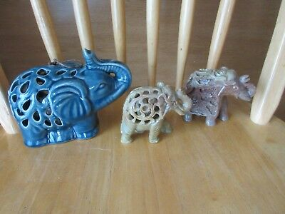 Lot of 2~Hand-Carved SOAPSTONE ELEPHANTS- one w/Baby Inside Figurine -India