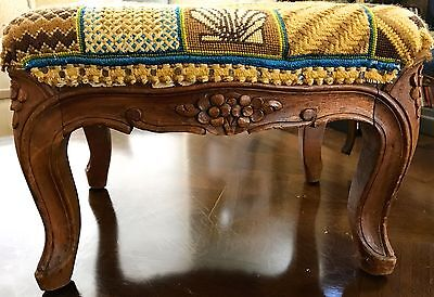 ANTIQUE FRENCH FOOTSTOOL Interesting Design Needle Pt Cover Horse Hair Stuff