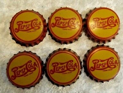 Pepsi Cola Bottle Caps Lot of 6 - Yellow and Red with Cork - USED - Vintage