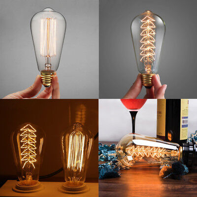 E27 Edison 110V Vintage Retro Filament Squirrel Cage Bulb ST64 Light Lamp 40/60W