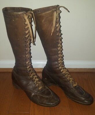 "Antique Women's Brown Leather 22-Eye Lace-up Boots 14.5"" Tall 1930's"