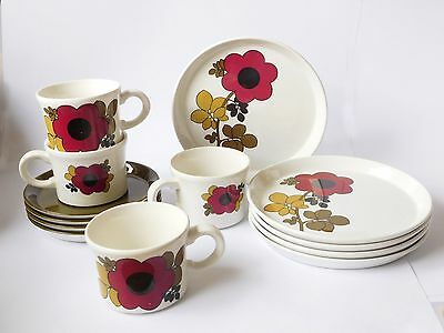 1970's Purple Retro Barkers Royal Tudor Ware 'Tango' 4 Cups,Saucers & T Plates