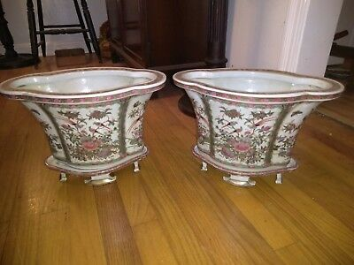 Vintage Pair Large Oriental Porcelain Planters with Footed Stands Beautful!