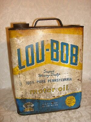 Vintage 2 Gallon Lou-Bob Motor Oil Can, Barn Find. One cent start!