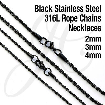 Black 2mm, 3mm Stainless Steel 316L Rope Chain Necklace Men Women 16in - 26in