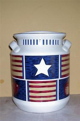 "Tienshan Stoneware Milk Can Cookie Jar Canister ""Americana""  Gasketed Lid"
