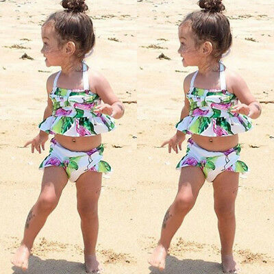 AU Kids Baby Girls Flamingo Tankini Swimwear Swimsuit Bikini Bathing Suit Beach