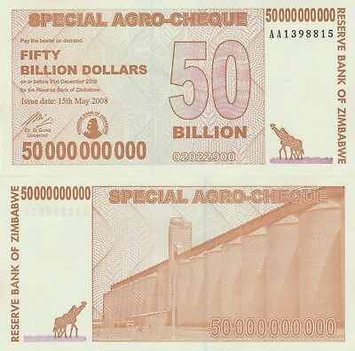 Zimbabwe 50 Billion Dollars X 15 PCS Used (Giraffes) Notes USA SELLER - JAE47