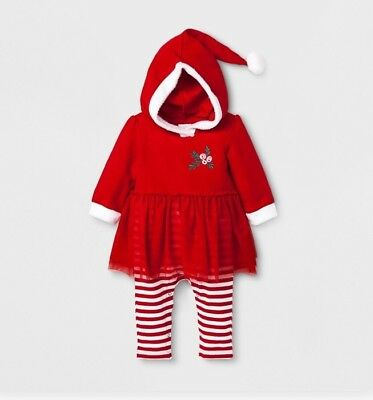 NWT Cat & Jack Baby Pajama 1 pc Sz 3-6M Red Tulle Skirt Christmas Hood Whoville
